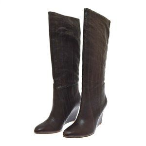 Belle Sigerson Morrison Brown Leather Women's Boots Tortora 10 B NEW Wedge Heel